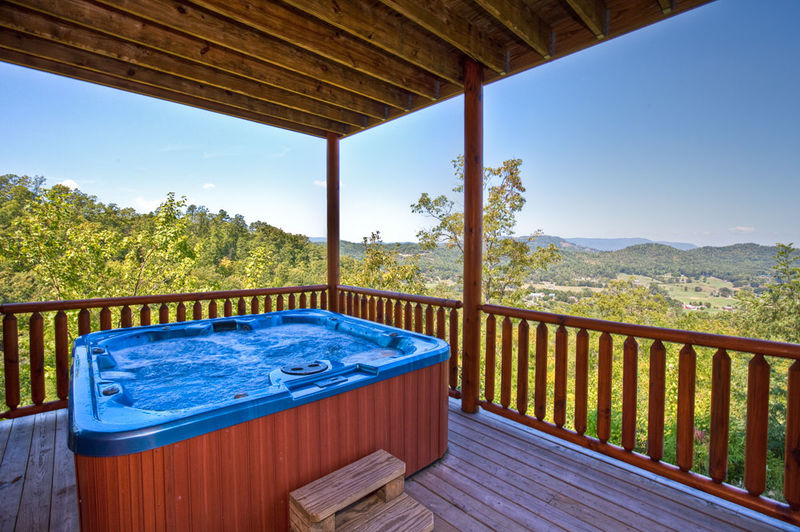 Outdoor hot tub at this Gatlinburg TN vacation rental