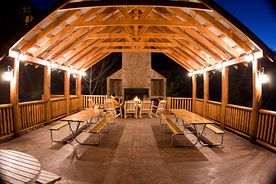 Pavillion with large Wood Burning Fireplace, Rocking Chairs, & 2 8 foot picnic tables, overlooks beautiful Wears Valley.