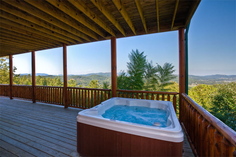 Take in the sights & sounds of nature, while you luxuriate in the large Hot Tub.