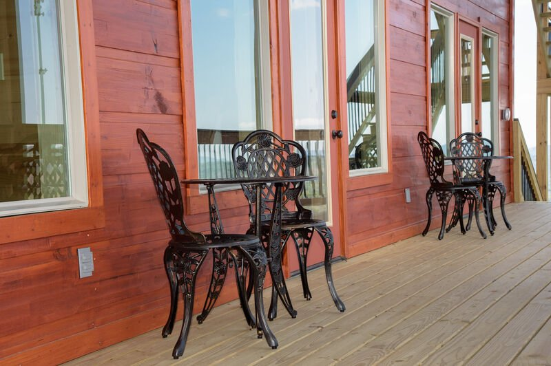 Bistro Table & Chairs Outside each Bedroom on the Deck
