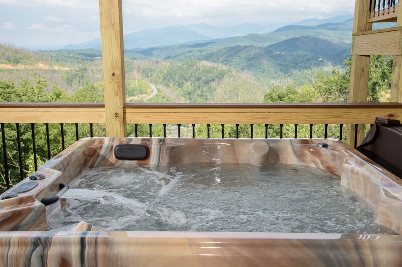 Outdoor Hot Tub at a Vacation Rental in Gatlinburg
