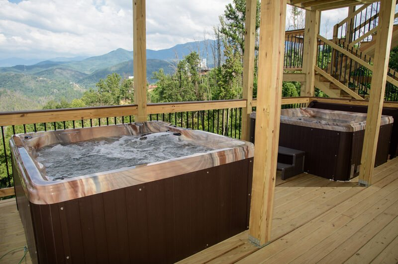 Outdoor Hot Tubs on Lower Level of Vacation Rental in Gatlinburg