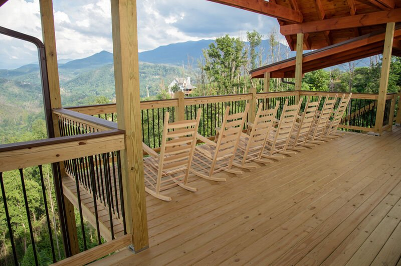 Top Deck with Rocking Chairs at Vacation Rental in Gatlinburg