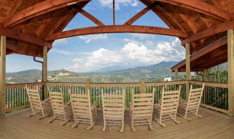 Expansive Top Deck View of Mountains and Foliage