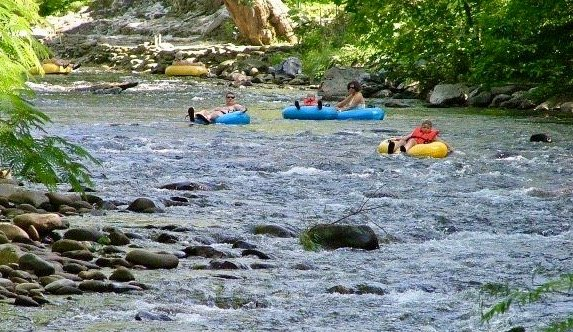 Tubing Down a Rushing River near our Vacation Rental in Gatlinburg