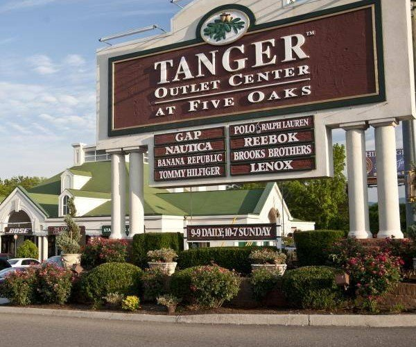 Entrance Signage to the Tanger Outlet Center at Five Oaks