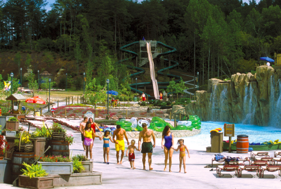 Family at a Waterpark near our Vacation Rental in Gatlinburg