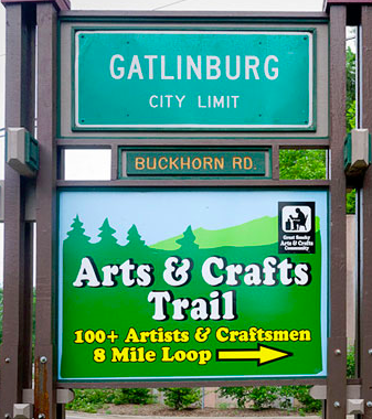 Gatlinburg City Limit Sign Directing Visitors to Trails
