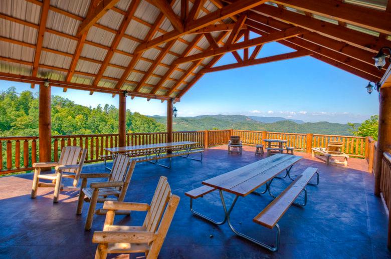 Outdoor seating at this Gatlinburg TN vacation rental
