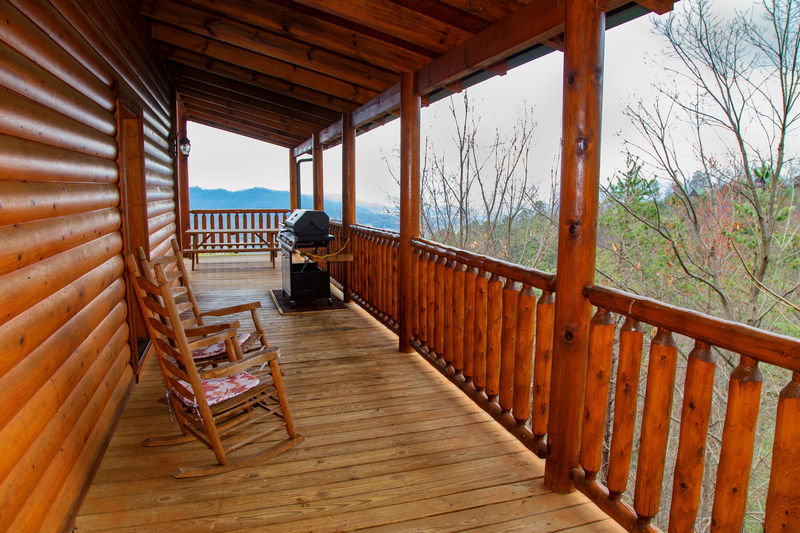 Wrap-Around Porch with Rocking Chair and BBQ