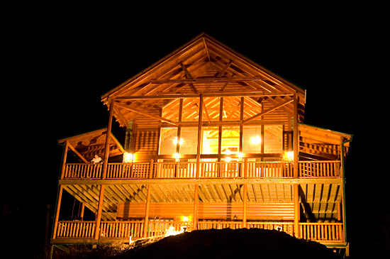 Exterior View of cabin at Night