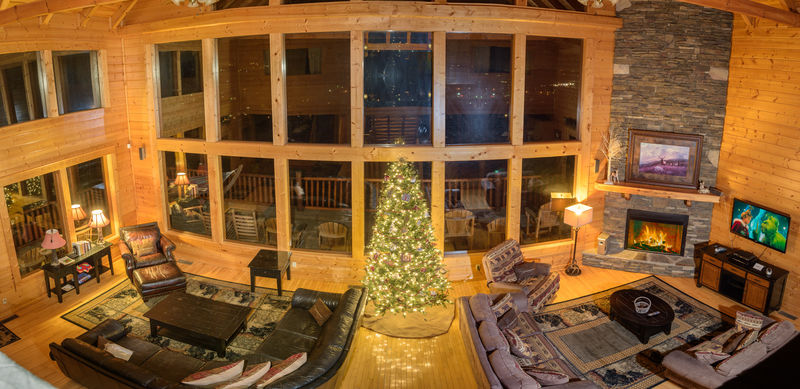 Panoramic View of Living Area and Christmas Tree