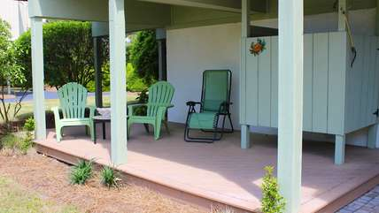 Relax in the shade after taking an outdoor shower.