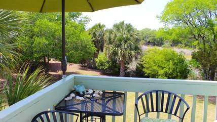 There are 3 decks, all with peaceful views of the green marsh.