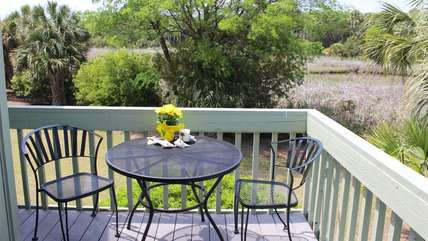 Private deck with marsh views off the master bedroom.