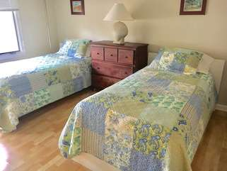 The 2nd bedroom on the lower level has two twin beds & an en suite bath.