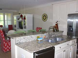 This open room allows an easy flow from the kitchen to the dining/iving area.