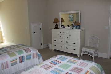 The room has a large dresser for your clothing.