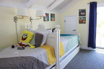 The loft has two twin beds both with trundle beds that pull out.