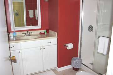 The master bath has been remodeled and has a walk-in shower.