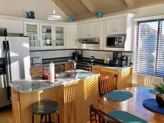 Remodeled kitchen is fully equipped for your enjoyment.
