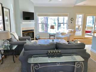 The open floor plan lets in lots of natural light.