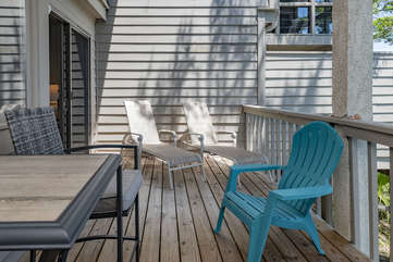The porch is half covered and half open-air. Fabulous place to hang out and relax