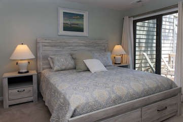 The master bedroom has a King bed with new mattress and bedding - so comfortable!