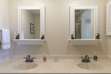 His and Hers vanity, with lots of extra towels