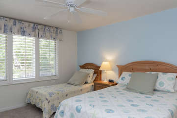 Second bedroom can sleep 3, with the Queen Bed and Twin bed comfortably filling the room.