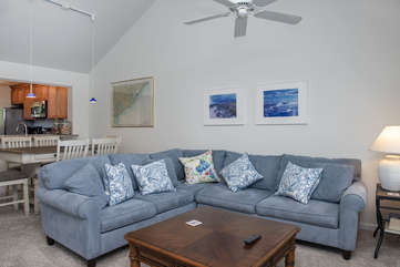 The great room has vaulted ceilings adding to the open, roomy feel.