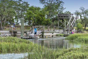 Take advantage of the crabbing and fishing dock. The observation deck has two built in benches to sit and enjoy the marsh and vistas.