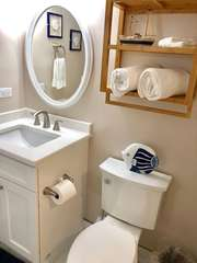 The separate sink makes it easy for couples to get ready each day.