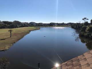 Large deck by the 11th fairway of the Ocean Winds course gives you lots of wildlife to view.