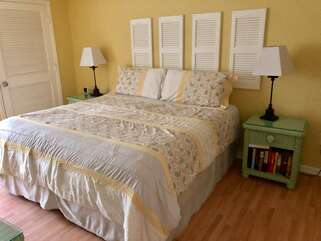 The master bedroom has a king bed, HDTV, and en suite bath.