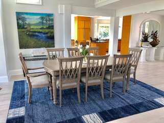 Dining Room table with seating for 8 is just off the kitchen.