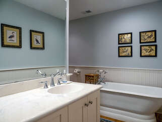This large bathroom features an expanded vanity and a soaking tub.