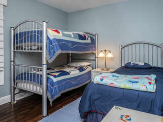 3rd bedroom has twin bunk bed plus additional twin