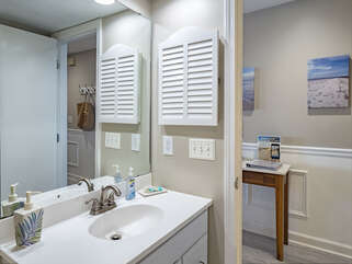 The hall bath has a shower - perfect for extra guests.