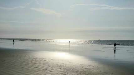 Beach walkers' silhouettes in glistening morning sun