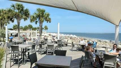 Pelican's Nest's dining terrace with wide open ocean views