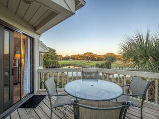 Enjoy the deck of this end unit with a wonderful view overlooking the lagoon and golf course.