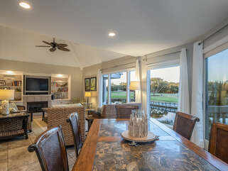 Open dining and living area with views all around.