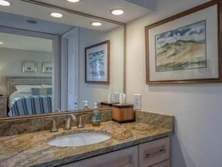 Renovated master bath with granite counter tops