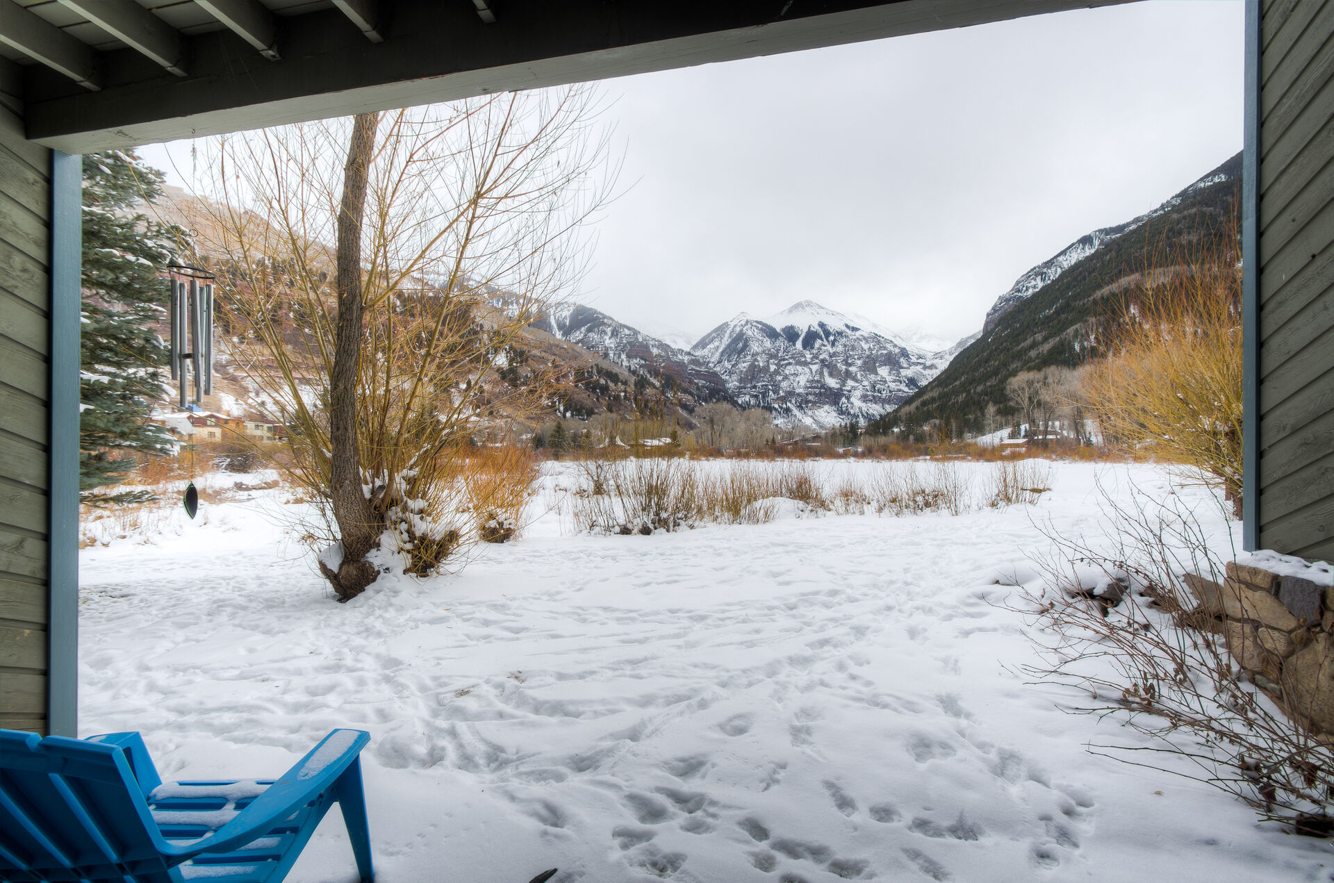 Snowy View from the Patio of the Buena Vista at Riverside Condo
