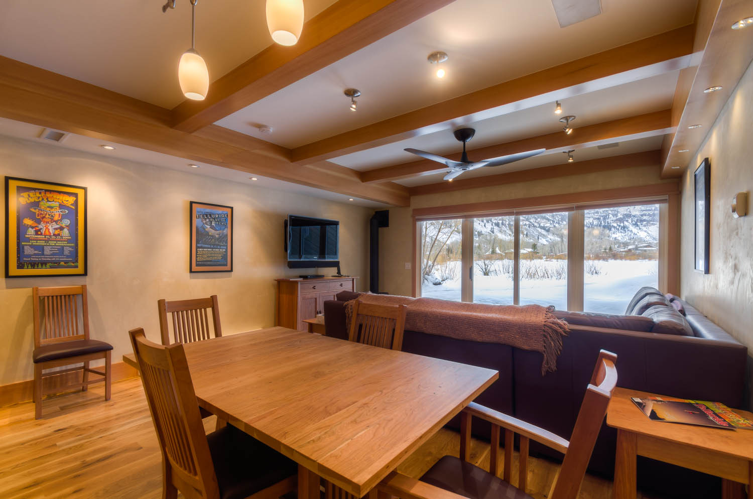 Dining Room Set, Sectional Sofa, Ceiling Fan, and Sliding Doors to the Patio