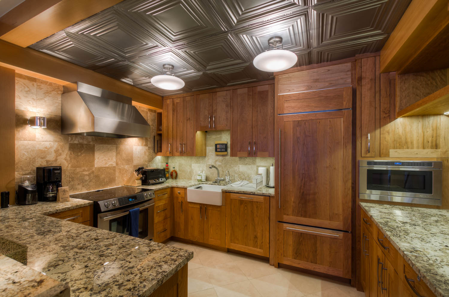 Refrigerator, Oven, and Coffee Maker in the Kitchen