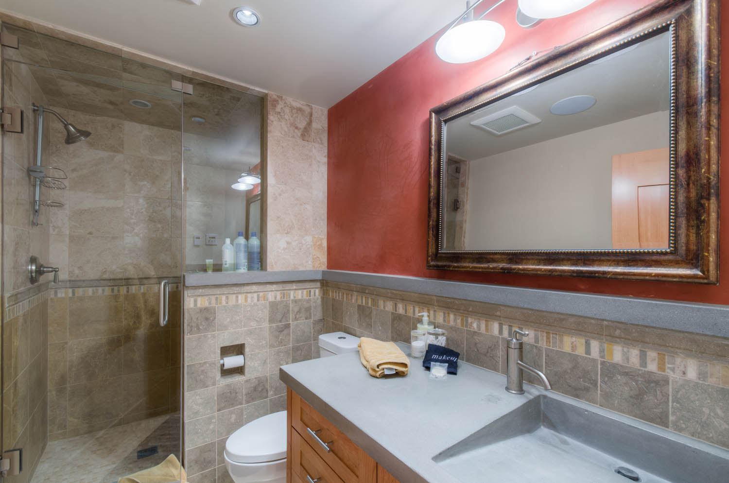 Bathroom with Walk-in Shower and Single Sink