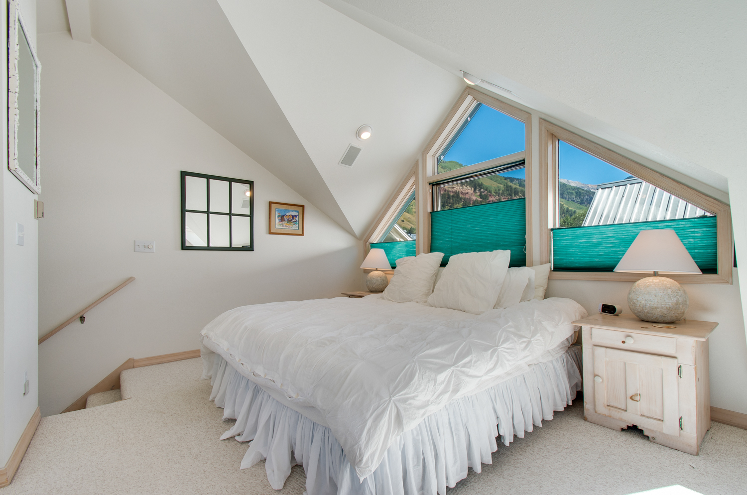 Master Bedroom with King Bed and Stairs