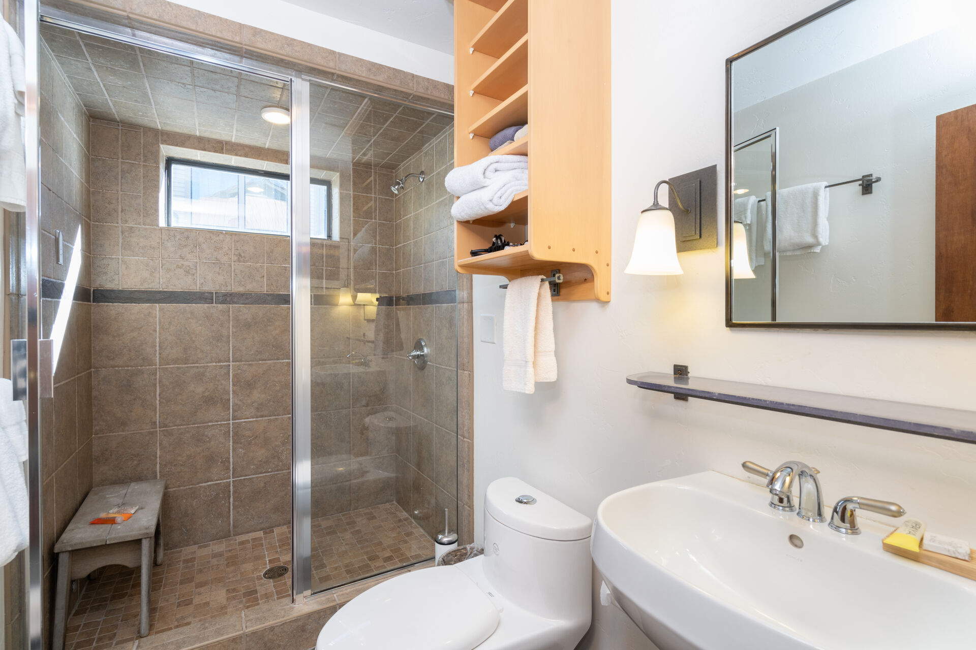 Bathroom with Pedestal Sink and Shower